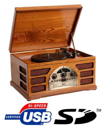 Wooden Retro Turntable 3 Speed Record Player AM/FM Radio CD, w/ USB & SD Interface for MP3 Playback