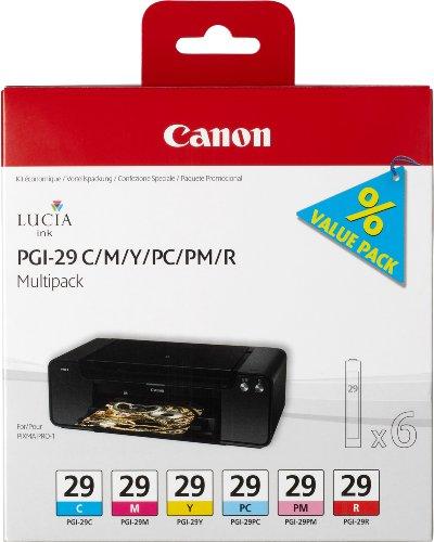 Canon PGI29 Ink Cartridge Multi Pack – Cyan/ Magenta/ Yellow/ Photo Cyan/ Photo Magenta/ Red