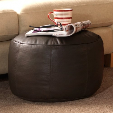 Luxury REAL LEATHER Footstool – ICON Designer Bean Bag Foot Stool – Foot Rest in Brown Leather