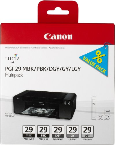 Canon PGI29 Ink Cartridge Multi Pack – Matte Black/ Photo Black/ Dark Grey/ Grey/ Light Grey
