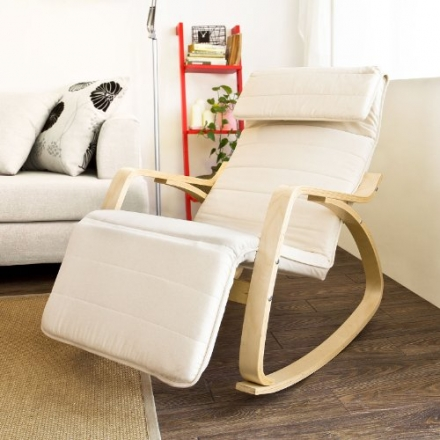 SoBuy Comfortable Relax Rocking Chair with Foot Rest Design, Lounge Chair, Recliners Poly-cotton Fab