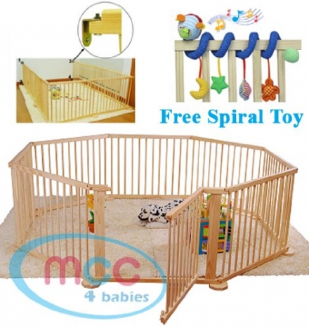 Large Heavy Duty Wooden Baby Playpen 8 panels with Free Educational gift