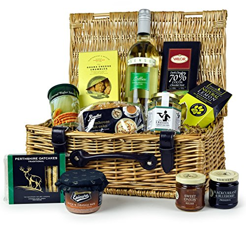 THE LUDLOW FOOD HAMPER – quality hamper with tasty treats and white wine. Food Hampers by Web Hamper