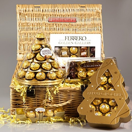 Ferrero Rocher Golden Gallery Luxury Christmas Hamper – Cone, Golden Gallery Box, Rocher Xmas Tree a