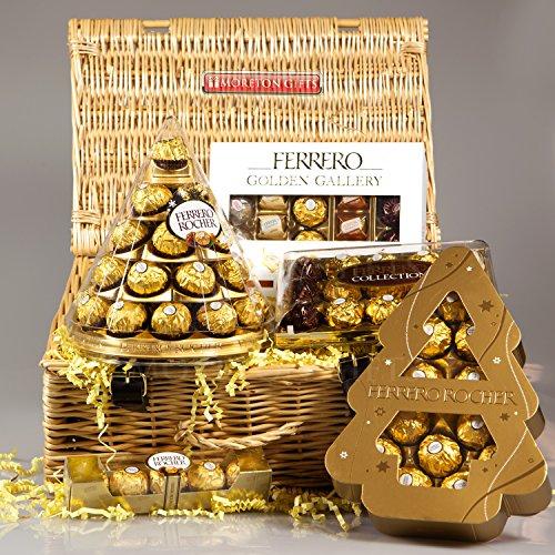 Ferrero Rocher Golden Gallery Luxury Christmas Hamper – Cone, Golden Gallery Box, Rocher Xmas Tree a