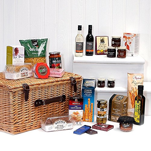'Gabriel' – Large Luxury Wicker Christmas Hamper Basket with 40 Gourmet Food Items Including 2 Bottl