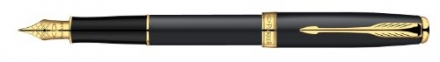 Parker Sonnet Matte Black Gold Trim Medium Nib Fountain Pen – Gift Boxed