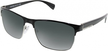Prada Metal Square Sunglasses in Black & Silver PR 51OS GAQ1A1 58