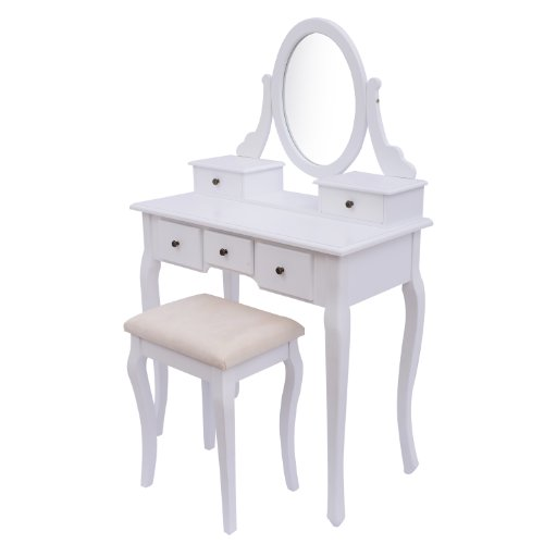 Homcom Antique Style Shabby Chic Dressing Table with Vanity Mirror & Stool – White