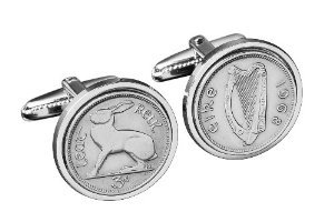 Irish coin cufflinks- Genuine old Ireland threepence cufflinks.Silver gift box