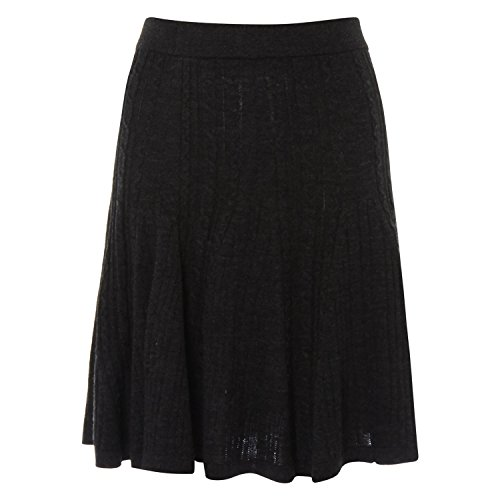 Womens Kenar Charcoal Cable Knit Skirt Ladies