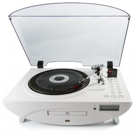 GPO Jive 3 Speed Record Player with CD and MP3 – White