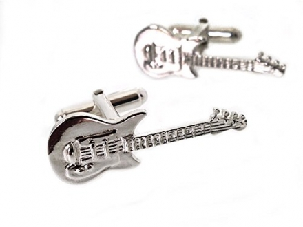 Solid Silver Electric Guitar Cufflinks