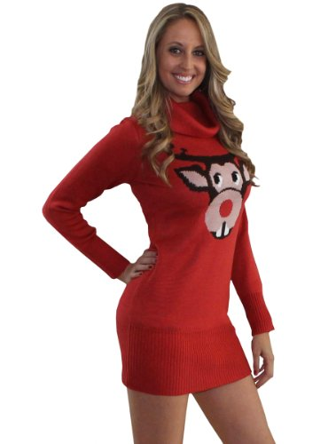 Tipsy Elves Ugly Christmas Jumper – Bucktooth Rudolph Jumper Dress