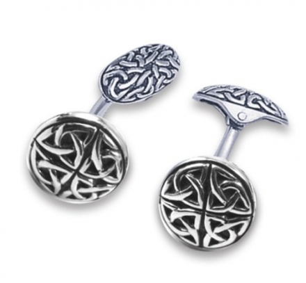 Sterling Silver Round Celtic Cufflinks -double sided Celtic on back as well – Leatherette Gift Box