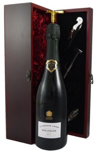 2004 Bollinger Grand Annee Vintage Champagne in a wooden gift box with four wine accessories for Lux