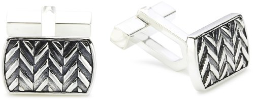 Baldessarini Sterling Silver Patterned Mens Designer Rectangular Cufflinks Y1040C/90/00/