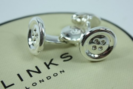 NEW LINKS OF LONDON Sterling Silver Button Cufflinks 2516.0153