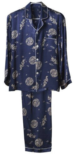 "GPUFashion 100% Silk Pyjama Mens Printed with ""Fly Chinese Dragon"" ""Good Luck Cloud"" and ""The Round"""