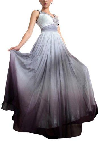 Kingmalls Womens V-neck beads sequins Evening Dress