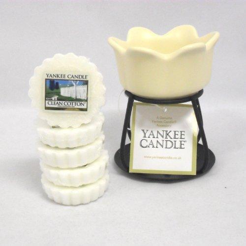 Yankee Candle – 5x Clean Cotton Wax Tarts + Petal Bowl Tart Burner – Cream