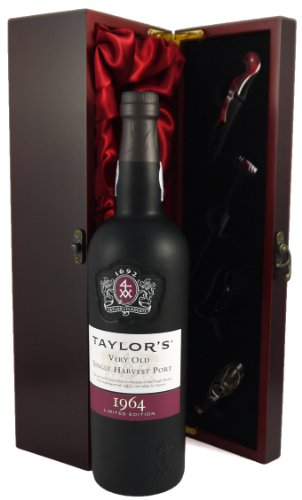 1964 Taylor's Very Old Single Harvest Port presented in a silk lined presentation box with four wine