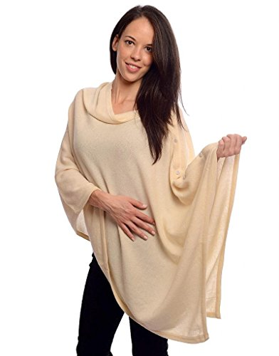 Mayfair Collection Womens Luxurious 100% Cashmere Poncho With Buttons – Cream