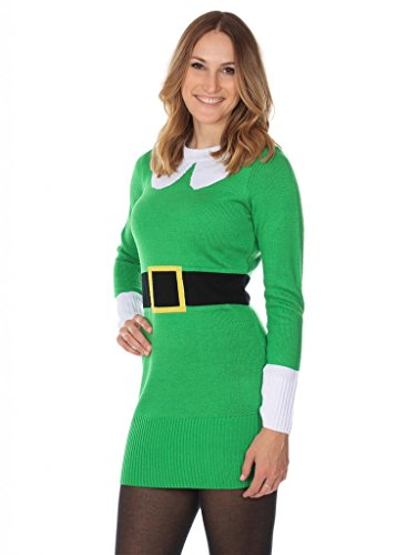 Women's Christmas Jumper Dress – Cute Elf Dress by Tipsy Elves
