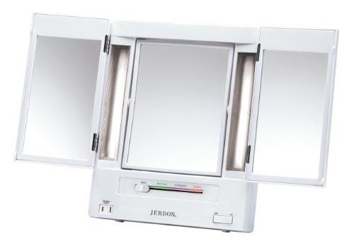 Jerdon Classic Jgl9W Lighted Tri-Fold Mirror, 5X Magnification