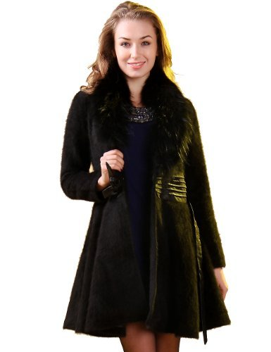 Camii Mia Women's Faux Fur Mink Cashmere Coat with Faux Fox Collar