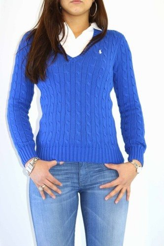 Ralph Lauren Sport Ladies Cotton Cable Knit V Neck Sweater, Jumper