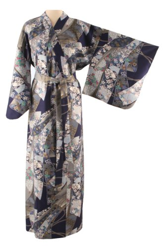 Ladies Cotton Kimono 'Ribbon Melody' – Navy