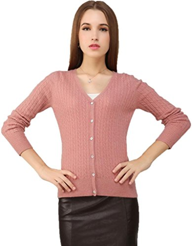Miuk Women's 100% Cashmere Long Sleeve Cardigan Sweater V Neck With Cables