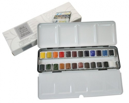 Winsor & Newton Artists' Water Colour Half Pans Light Weight Metal Box (Pack of 24)