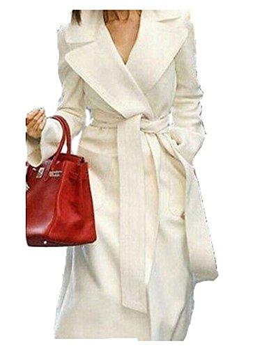 YABEIQIN Women's Wool Cashmere Winter Noble Long White Jacket Coat