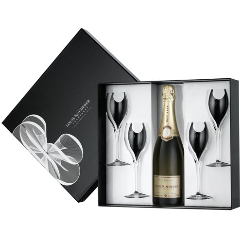 Louis Roederer Brut 75cl + Four Chenonceaux Glasses Gift Set