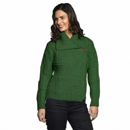 Carraig Donn 100% Irish Merino Wool Draped Collar One Button Ladies Aran Sweater.