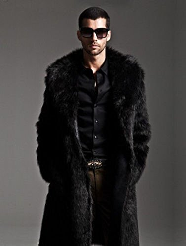 YABEIQIN Men Faux Fur Coat Long Jacket Outerwear Winter Warm Luxury Overcoat Black