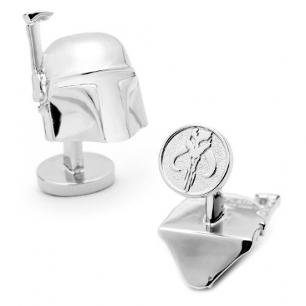 Officially licensed by Lucasfilm Star Wars 3-D Boba Fett Helmet Cufflinks Cuff Links