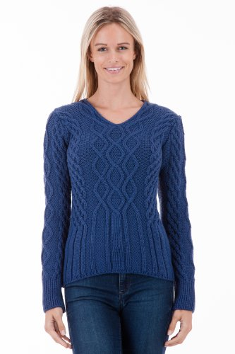 Hollowcombe Walk – Old Blue V-Neck Womens Aran Jumper – Pure Merino Wool – Made in Great Britain
