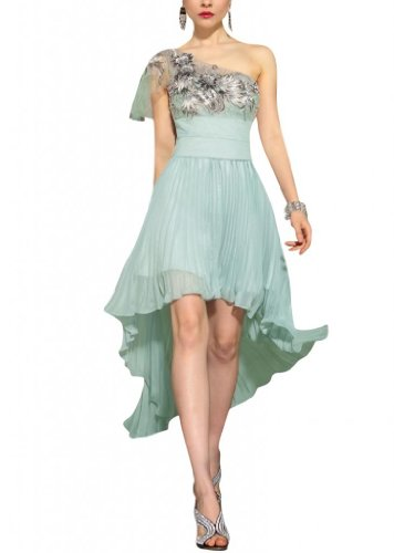 Kingmalls Womens embroidered applique pleat Occasion Dress