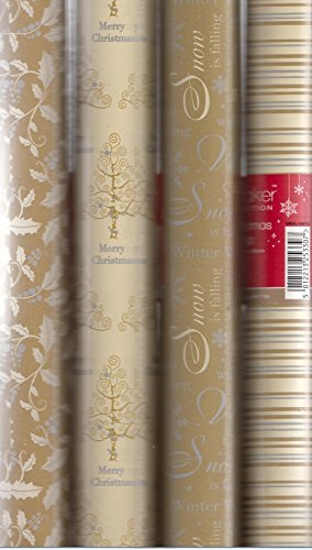 4 x Rolls Of Christmas Gift Wrap Wrapping Paper 5M x 69cm Gold & Cream Traditional