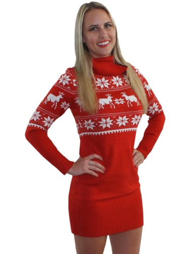 Tipsy Elves Ugly Christmas Jumper – Fair Isle Reindeer Jumper Dress