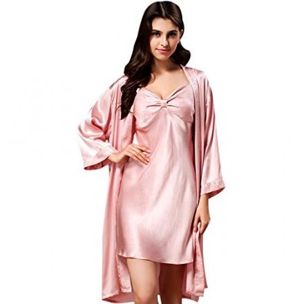Ionlyou Womens 100% Silk Sexy Nightgown Set Night-robe+Panties