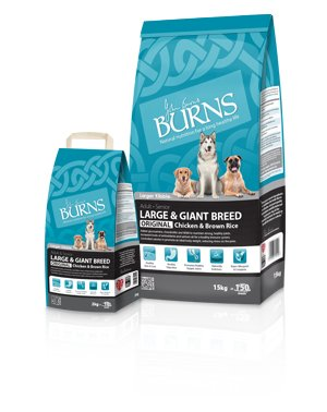 Burns large giant breed dog food chicken and brown rice all sizes