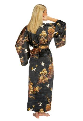 Ladies Silk Kimono 'Enchanted Crane' – Black