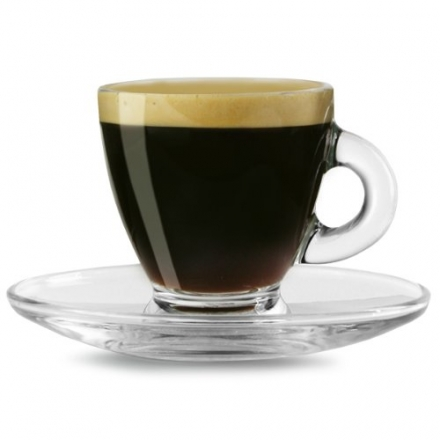 Entertain Espresso Cups & Saucers 2.8oz / 80ml – Pack of 2 | Glass Coffee Cups, Coffee Glasses