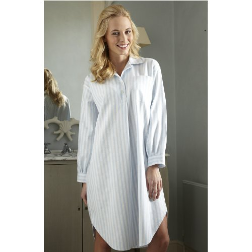The Irish Linen Store Womens Emma Cotton Long Sleeve Striped Nightshirt Blue and White