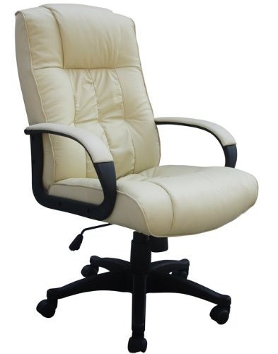(BTM)New Luxury Faux Leather High Back Office Executive Chair PC Swivel Furniture-CREAM