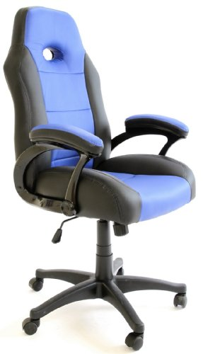 Charles Jacobs Luxury Office High Back Support Gaming Chair in Black & Blue + Tilt Lock Mechanism